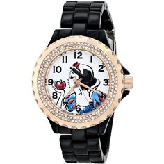 Disney Snow White Black Enamel Watch ($48) ❤ liked on Polyvore featuring jewelry, watches, disney, black wrist watch, ewatchfactory, black enamel jewelry, black jet jewelry and black watches