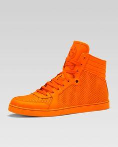Gucci Coda Neon Leather High-Top Sneaker, Orange - Bergdorf Goodman