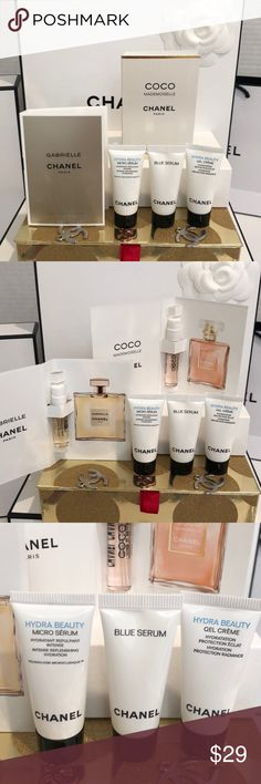 CHANEL SKINCARE & FRAGRANCE One CHANEL CoCo MADEMOISELLE  2 ml sample spray. One CHANEL GABRIELLE 1.5 ml sample spray.  One Hydra Beauty CREME  5 ml deluxe sample size.  One Chanel Blue Serum deluxe 5 ml sample.  Thank you for shopping my closet I always give free gifts.  All new & unused. CHANEL Makeup