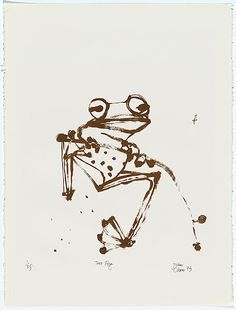 John OLSEN Newcastle, New South Wales, Australia born 1928     Movements: Europe 1956-60     Spain, Portugal 1965-67  CROSSLEY PRINT WORKSHOP Melbourne, Victoria, Australia born 1973 print workshop RUDY KOMON GALLERY commenced 1959 – 1984publisher (organisation)  Tree frog 1973 ink; paper lithograph, printed in brown ink, from one stone Impression: 1/25 Edition: edition of 25 printed image 41.0 h x 39.2 w cm Purchased 1974 Accession No: NGA 74.189 © John Olsen. Licensed by Viscopy