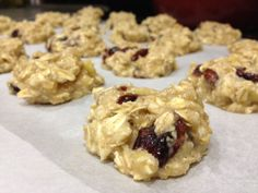 Breakfast Cookie: no flour, no sugar, no dairy added. Ingredients: 1.5 cups of oats, 2-3 super ripened bananas, 1 cup unsweetened applesauce, handful of craisins, cinnamon to taste Mix, throw on a baking sheet @ 350/ 35 minutes.     Gonna try these soon... perhaps tonight :)