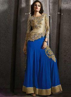 Beige Blue Embroidery Work Silk Georgette Designer Fancy Lehenga Anarkali Suit  www.angelnx.com/Salwar-Kameez