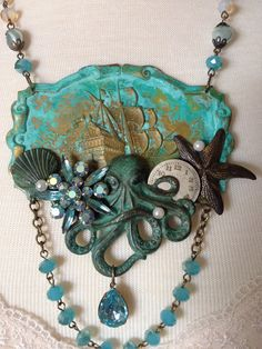 Repurposed vintage 1927 Atwater radio plate assemblage necklace, octopus, unique OOAK upcycled, watch face, sea, octopus, aqua, statement