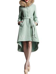 Light Green Front Button High-Low Hem Wool Woman's Trench Coat - Milanoo.com