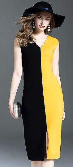 Brief V-Neck Sleeveless Hit Color Bodycon Dress