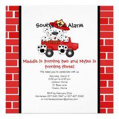 Dalmatian Puppy Fire Truck Birthday Party Custom Announcement