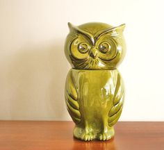 Image detail for -Vintage green ceramic owl cookie jar by highstreetmarket on Etsy Ceramic Owl, Cookie Jars, Vintage Green, Birds, Vase, Ceramics, Detail, Ceramica, Pottery