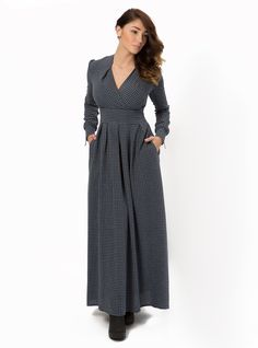Maxi-Dress Francesca. Romantic woolen maxi-dress will keep you warm and cosy even through the rainy autumn days. Unusual cut delicately emphasizes the neck and collarbone. Cuffs have stylish zippers. Fabric composition: 70% viscose, 30% wool. Length of the product: 150 cm / 59 inches.