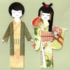 geisha paper for cards and bookmarks japanese kokeshi dolls mini note cards japanese geisha paper dolls japanese girls paper dolls japanese geisha greeting ca Cute Crafts, Doll Crafts, Paper Dolls, Art Dolls, Asian Crafts, Origami Paper Art, Japanese Paper, Kokeshi Dolls, Paper Cards