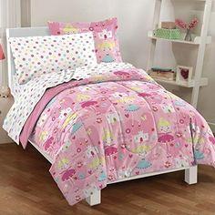 Comforter Set Bed Pink Twin Dream Factory Pretty Princess Soft Microfiber Girls…