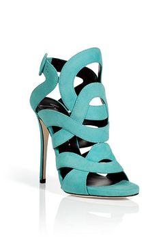 Aqua Suede Swirl Sandals