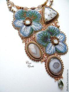 Ольга Орлова Голубые цветы 2 - голубой,колье с цветами,ольга орлова,голубые цветы,агат натуральный