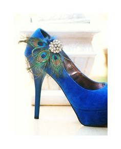 Statement Peacock Fan Shoe Clips. Wedding Bride Bridal Heel Accessory by sofisticata http://sofisticata.etsy.com Featured on Brides.com Magazine! Navy Feathers & Rhinestone Crystals. Bridesmaid Gift Idea!
