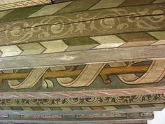 in the Museum of Edinburgh. Painted Ceiling Beams, Ceiling Painting, Ceiling Murals, Faux Painting, Painted Walls, High Ceiling Decorating, Hallway Decorating, Scandinavian Cabin, Ceiling Treatments