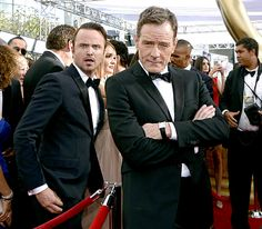 This photo of Bryan Cranston and Aaron Paul: The 19 Best Seen And Unseen Moments From Last Night's Emmy Awards Best Tv Shows, Best Shows Ever, Favorite Tv Shows, Breaking Bad 3, Aaron Paul, Bryan Cranston, Tina Fey, American Horror, Celebrity Photos