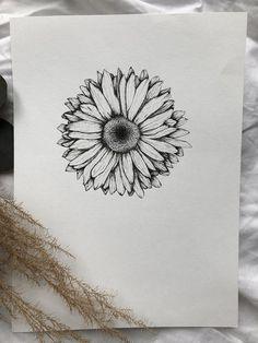 Gerbera Daisy Tattoo, Small Daisy Tattoo, Dahlia Tattoo, Spine Tattoos For Women, Shoulder Tattoos For Women, Ink Pen Drawings, Tattoo Drawings, Lotus Tattoo Shoulder, Daisy Drawing