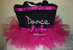 Fuchsia Rhinestone Tutu Dance Bag by Tutunyou on Etsy