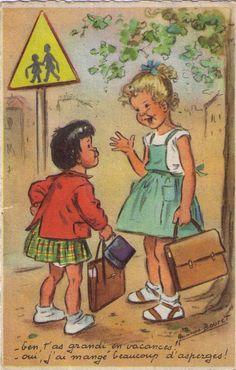 - Ben, t'as grandi en vacances!  - Oui, j'ai mangé beaucoup d'asperges!