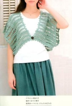 Stylish Easy Crochet: Crochet Pattern Of Easy Stylish Bolero Crochet Bolero Pattern, Crochet Flower Hat, Gilet Crochet, Crochet Poncho Patterns, Crochet Shawl, Easy Crochet, Free Crochet, Crochet Woman, Crochet Clothes
