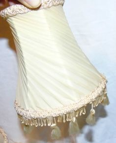 4 Ivory Pleated Silk Fabric Clip On Wall Light Shades Chandalier craft upcycle | eBay