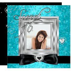 Sweet 16 Sweet Sixteen Turquoise Black Photo Card
