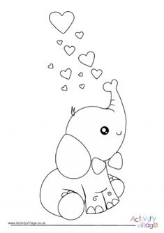 Valentine& day elephant coloring page - coloring pages . - Valentine& day elephant coloring page – coloring pages - Cute Coloring Pages, Coloring For Kids, Coloring Books, Free Coloring, Adult Coloring, Baby Quilt Patterns, Applique Patterns, Baby Elephant Drawing, Elephant Doodle