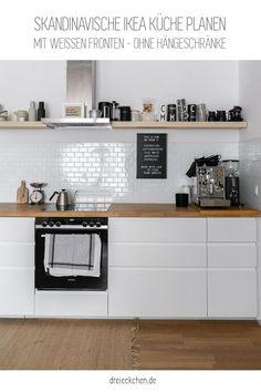 Ikea Küche mit weißen Voxtorp Fronten und ohne Hängeschränke Ikea Kitchen Design, Kitchen Interior, New Kitchen, Colorful Kitchen Decor, Kitchen Colors, Voxtorp Ikea, Sweet Home, Home Kitchens, Ikea Kitchens