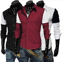 Mens contraste color de los cordones encaja camisas de vestir de manga larga