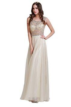 bbe4398a54a Amazon.com  HarveyBridal Crystal A-line Tank Top Sheer Chiffon Prom Dress  Champagne  Clothing