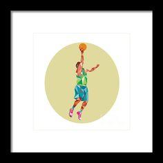 Basketball Player Lay Up Rebounding Ball Low Polygon Framed Print By Aloysius Patrimonio. Low polygon style illustration of a basketball player lay up rebounding ball set inside circle.  #illustration #BasketballPlayer