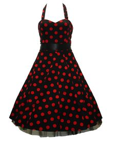 Hell Bunny 50's Big Polka Dot Dress In Black & Red | Tiger Milly
