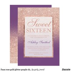 Faux rose gold glitter purple chic Sweet 16 CardA modern, pretty chic and elegant faux rose gold glitter shower ombre with purple color block Sweet 16 birthday party invitation with rose gold ombre pattern fading onto a purple background with and elegant rose gold frame Perfect for a princess Sweet sixteen.