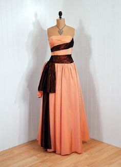 Emma Domb, 1950s  Not sure I love the style, but I LOVE the color combo - peach and dark copper!
