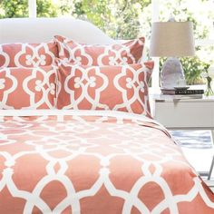 Bedroom inspiration and bedding decor   The Pacific Coral Duvet Cover   Crane and Canopy