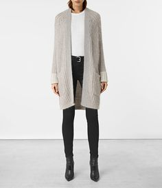 $308 Womens Egler Long Cardigan (Pastel Grey) - product_image_alt_text_1