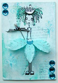Artwork created by Monique Verbeek using rubber stamps designed by Daniel Torrente for Stampotique Originals