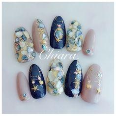 夏design - New Ideas Asian Nail Art, Asian Nails, Japanese Nail Design, Japanese Nail Art, Kawaii Nail Art, Cute Nail Art, Best Acrylic Nails, Gel Nail Art, Rave Nails