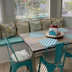 """I love my chair pads. Chair Pads, Chair Cushions, Industrial Chair, Shades Of Turquoise, Ticking Stripe, Outdoor Furniture Sets, Outdoor Decor, Ideas Para, Dyi"