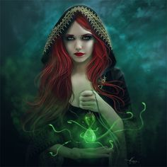 My favorite part of this painting is the red hair.  It is a great contrast against all the green.  Normally i would not like this because when I picture Christmas when i see red and gree.  However, I do not know if the shading plays a factor but i certainly do not get a feel of Christmas.