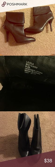 Ralph Lauren black leather boots Sides flap over; 3 inch heel; black leather Ralph Lauren Shoes Ankle Boots & Booties