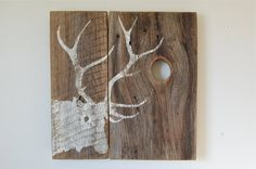 Weathered Elk Silhouette Sign on Montana Barnwood by salvagesigns
