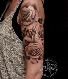 Znalezione obrazy dla zapytania rose and lace tattoos on shoulder with names