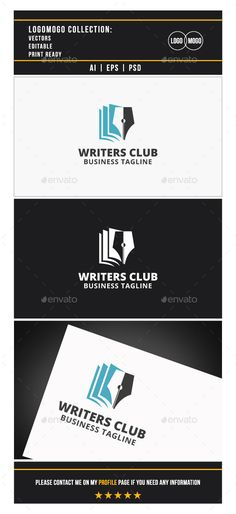 Writers Club Logo TemplateVector EPS and AiPSD 7083*6250Re sizableColor customizable Fully editable Free font used: http://www.fon
