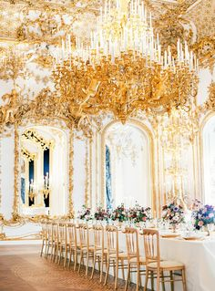 Fit For a Queen - Grand, lavish, opulent — this gold space is fit for a princess bride. Ornate details channel romance and Marie Antoinette vibes. Photo Credit: Ashley Ludaescher / Wedding Planner: A Very Beloved Wedding Wedding Reception Decorations, Wedding Themes, Wedding Centerpieces, Wedding Designs, Wedding Styles, Wedding Photos, Wedding Ideas, Wedding Stuff, Wedding Shit