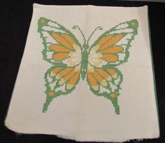 Vintage Retro Mid Century Counted Cross Stitch Butterfly Throw