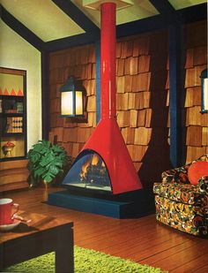 A 1970s living room with fireplace