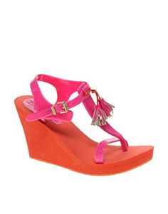 WANT Juicy Couture Lily Tassled Wedge Sandals