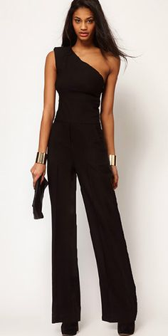 Sexy Oblique Shoulder Sleeveless Solid Color Jumpsuits