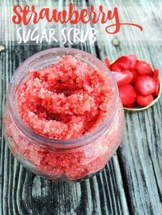 DIY Strawberry Sugar Scrub Recipe - Homemade all natural sugar scrub with 4 simple ingredients.