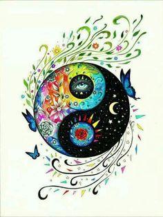 Choose your yen-yang Arte Yin Yang, Ying Y Yang, Yin Yang Art, Yin And Yang, Yin Yang Tattoos, Tatuajes Yin Yang, Mandala Art, Mandala Painting, Yen Yang